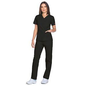 Dickies Scrubs Set EDS SIGNATURE Women Mock Wrap Top & Pull on Pant 86806/86106