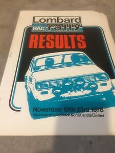 1978 LOMBARD RAC RALLY OFFICIAL RESULTS BOOK  EX JIM PORTER
