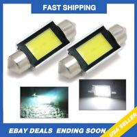 Super White Xenon 36mm Car COB LED License Plate Light 6418 C5W 4W Bulb 2PACK