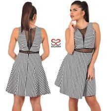 79545c38bc9d Vestito corto estivo mini abito a righe elegante da sera con trasparente 071