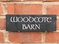 Personalised Slate House Sign 300mm X 100mm Any Name / Number CELTIC LETTERING