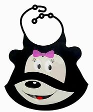 Soft,Foldable Silicone Baby Bib w Pocket,Hook(20x26)cm Waterproof - Black(Mouse)