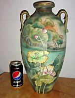 """Large Antique 16"""" Moriage Hand Painted Vase with Unusual Metal Base."""