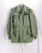 US Army Cold Field Coat OG-107 Jacket Sz M Africa Corp SSI Spc Rank Distressed