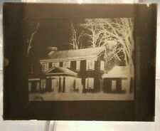 Vintage GLASS NEGATIVE SLIDE Picture of Old Log Cabin Home House