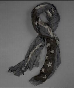 John Varvatos Collection American Flag Scarf. Blue Grey
