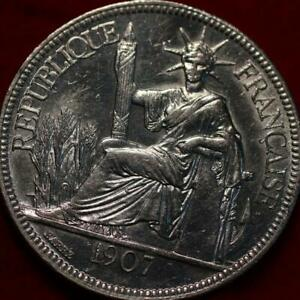Uncirculated 1907 French Indo China 1 Piastre Silver Foreign Coin