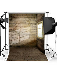Retro Photography Backdrops Sheet Music 5x7FT Brick Walls Background Vinyl GQ201