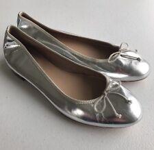 $158 NEW JCrew Classic Kiki Mirror Metallic Ballet Flats 5 Silver Womens Shoes