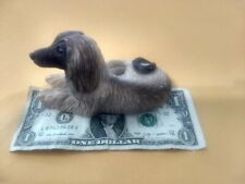 Stone Critters? Afghan Hound Dog Figure Laying Down Bright Eyes Nice!
