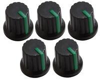 Lot de 5 boutons de potentiomètre pour axe 6mm noir/vert  - C2544