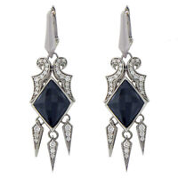 Stephen Webster 925 Silver 14K Gold Post Cats Eye Crystal & Diamonds Earrings