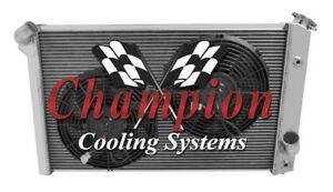 """3 Row Ace Radiator W/ 2 12"""" Fans for 1973 74 75 1976 Chevrolet Corvette V8 Eng"""