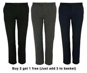Boys Quality Adjustable Waist Teflon Coated Formal Slim Fit School Trousers