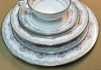 Noritake Glenwood Pieces Made in Japan Platinum Trim  5770