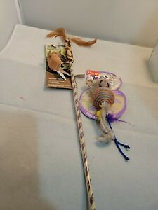 Lot of 2 Pet Cat Toys wand w/Feathers -Real Mouse Sound Hartz catnip ball