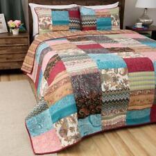 King Size Kantha Quilt Patola Silk Assorted Patchwork Vintage Bedspread Bed Set