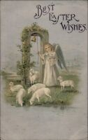 Easter - Angel Ringing Bell & Sheep c1910 Postcard