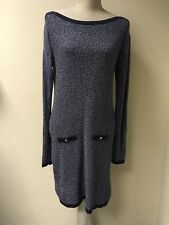 Oasis Women Blue Knitted Sparkly Dress Size 12-14 (15)