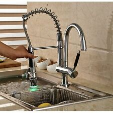 Dual LED Spout Kitchen Faucet Brass Chrome Pull Down Sink Mixer Tap Swivel Spout
