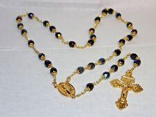 Handmade 7 Last Words of Christ Chaplet Blue Iris Beads W/Gold Plate Caps