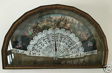 Framed Antique Victorian French Fan Carved Mother Of Pearl c.1860