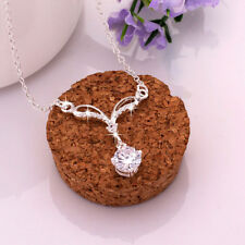 Classic Wholesale 925 Sterling Sliver Filled Clear Zirconia Crystal Necklace Gif