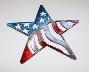 "Stars & Stripes Star - Metal Wall Art - Red, White & Blue 7"""