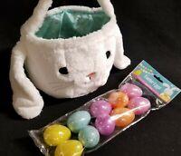 White Plush Cloth Easter Bunny Rabbit Head Basket 10 Plastic Refill Easter Eggs