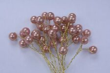 12 x 10mm VINTAGE ROSE GOLD PEARL BEAD SPRAYS ON GOLD WIRE STEMS