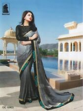 BALCK & GREY DESIGNER INDIAN SHINY GEORGETTE SAREE BOLLYWOOD PARTY WEAR SARI MS1