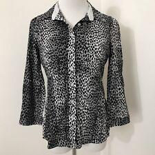New York & Co Snow Leopard Button Down Shirt S Small Black Gray E38