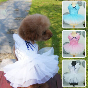 UK Dog Princess Wedding Dress Cat Cupcake Pet Lace Sequin Skirt Puppy Accessory