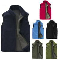 Men's Warm Zip Fleece Vest Jacket Outdoor Climbing Hiking Waistcoat Plus SizeGN