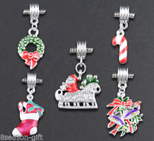 10 Mixed Christmas Dangle Beads Fit Charm Bracelet GIFT