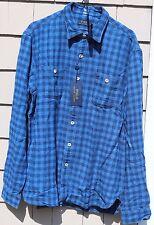NWT-$165 Polo Ralph Lauren L/S Button Front Plaid Cotton Shirt Size M