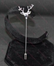 Lovely Men's Silver Stag Lapel Pin Stick Brooch