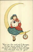 Tuck New Year Ye Olden Days Girl on Moon Schmucker c1910 Postcard EXC