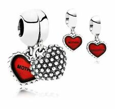 Mother and Daughter Duo Twin Heart love Dangle Pendant/Charm set +gold gift box