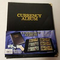 Currency Album For Large US Size Banknote Bill 12 Clear Pages 3 Pocket Sheets