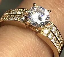 14k Gold Ring 1.20 Ct Yellow Round manmade Diamond Engagement 7 6 8