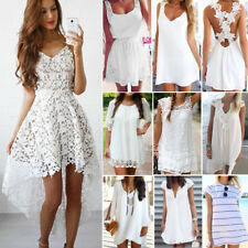 Women Boho Lace Chiffon Dress Party Cocktail Summer Sleeveless Sundress White AU