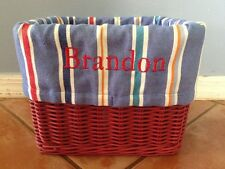 "☀️ Pottery Barn Kids Sabrina Large Blue Striped Basket LINER BRANDON 12"" x 9.5"""