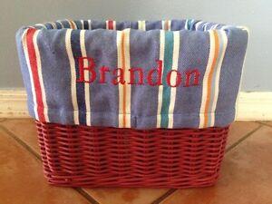 "☀️ Pottery Barn Kids Sabrina Large Blue Striped Basket LINER BRANDON 12"" x 9.5"""