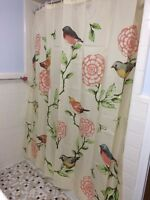 Birds & Blooms Floral Bath Shower Curtain Colorful Flowers Tree Branch Decor