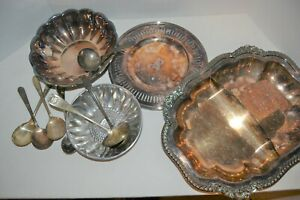 Large Mixed Lot 10 Pc Divided Tray, Monogram Dish, Six Serving Spoon Reed Barton