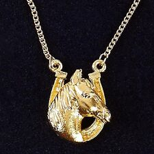 Gold Plated Horse Head / Horse Shoe Necklace