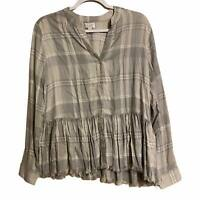 Mud Pie Womens Womens Prescott Gray peplum Button down Top Shirt Sz S