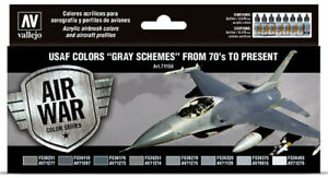 USAF Colors Gray Schemes From 70's to Present Vallejo Model Air Paint Set 71156