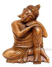 "11"" Wooden Serene Sleeping Buddha Statue Hand Carved Figurine Home Decor Gift"